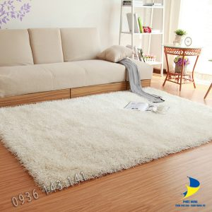 Thảm lông xù cao cấp trắng
