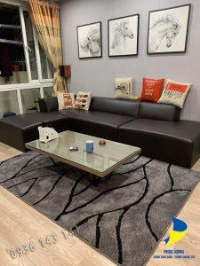 Thảm lót sàn phòng khách bằng lông ngắn đẹp