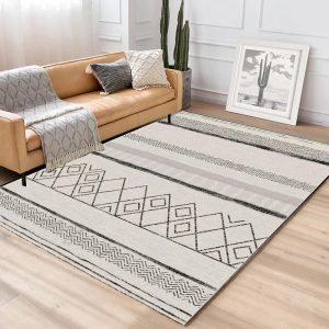 thảm lót sàn nỉ mặt lỳ họa tiết vintage trắng