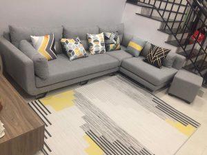 thảm lót sàn nhà đẹp cho bộ sofa ghi