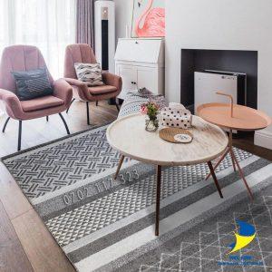 Thảm lót sàn nhà đẹp cao cấp với bộ sofa đơn