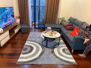 thảm lót sàn nhà đẹp xanh tươi với bộ sofa màu ghi