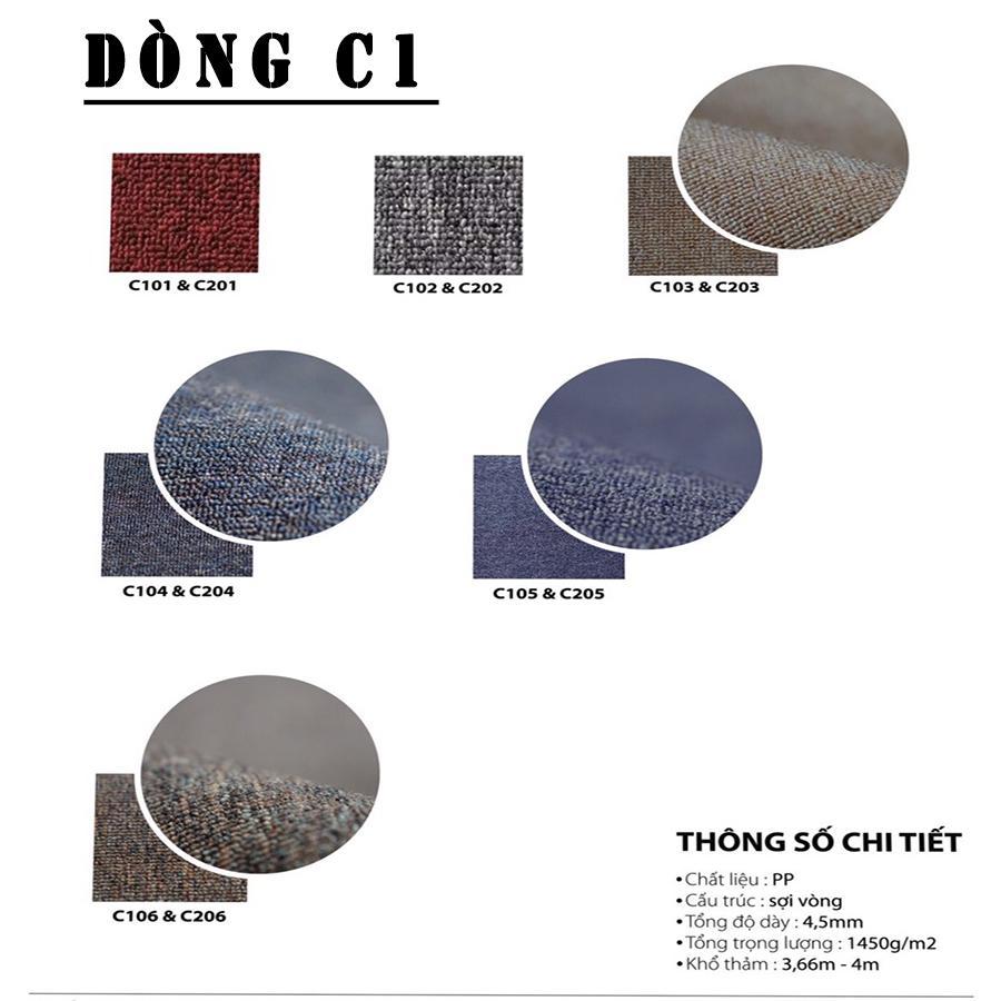 bảng màu dòng thảm cuộn trả sàn