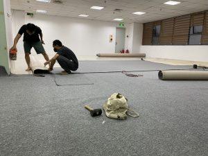 Thảm cuộn công trình thi công nhanh, gọn