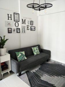 không gian phòng khách khi có thảm sofa