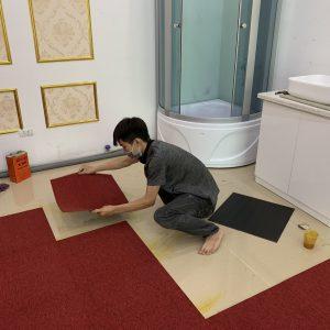 thi công thảm tấm ghép